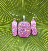Pink Multi Color Handmade Fused Dichroic Glass Matching Pendant Earrings set (s)