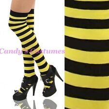 BEE SOCKS Black & Yellow STRIPED Over-the-knee THIGH-HIGH Stay-Ups COSTUME Tiger