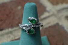 1.55ct Colombian Emerald / Zircon Ring Platinum over Sterling Silver Size 6