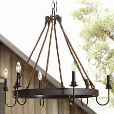 Rustic Rope Iron Candle Chandelier Ceiling Fixture Vintage Pendant Light Lamp