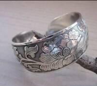 Tibetan Tibet 925 Silver Peony Totem Carved Bangle Cuff Fashion Bracelet UK