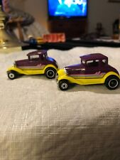 Vintage (2) Matchbox Model A Ford 1979 Hot Rod Purple Yellow