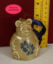 Pfaltzgraff FOLK ART Sculpted Bear Ornament Bell 3 Inch Stoneware MINT! USA!