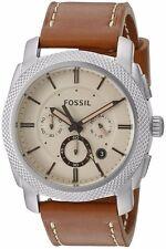 Fossil Men's Brown Leather Band Steel Case Quartz Beige Dial Watch FS5131