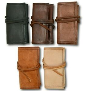 100% ORGANIC LEATHER BROWN TOBACCO POUCH POUCHES BAG CASE WALLET TIN *HANDMADE*