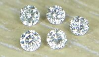 1.3mm 0.05cts 5pc Natural Loose Brilliant Cut Diamond I1 Clarity J Color Round