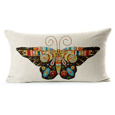 Vintage Linen Hemp Cotton Couch Sofa Cushion Cover Pillow Butterfly 30 X 50 cm