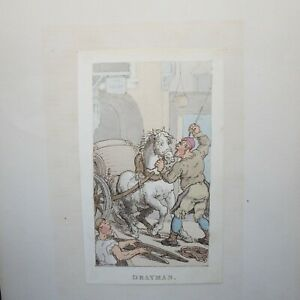 THOMAS ROWLANDSON, DRAYMAN, 1820, HAND COLOURED ETCHING THE LOWER ORDER HORSE