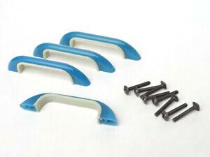 x4 Antique Bakelite Drawer Pull Handle NOS Art Deco Mid Mod Plastic - BLUE
