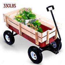 Outdoor Wood Wagon Garden Cart Children Red Railing ALL Terrain Pulling 330LB