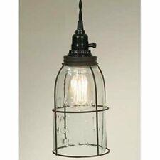Rustic Half Gallon Caged Mason Jar Open Bottom Industrial Pendant Light Lamp Gr