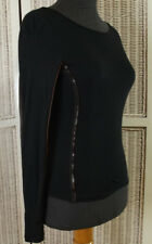 "ROBERTA SCARPA Black Stretch Knit Top XS-S 31"" Bust Faux Leather Trim Sexy Shirt"
