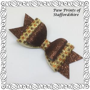 SALE: Brown, Gold & Copper Spotty Glitter Hair Bow On Alligator Clip