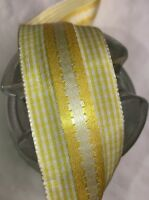 "1 yard 1 1/2"" wide vintage roll Gingham Yellow Vintage  ribbon Rayon dress"