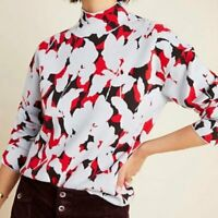 Anthropologie Lizzie Mock Neck Sweater Red Floral Gray Black Long Sleeve Small