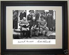 Franklin Roosevelt FDR Winston Churchill World War 2 WWII Autograph Framed Photo