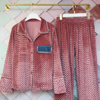 2021 Gold velvet women's thickened pajamas set warm and soft home service