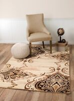 Beige and brown Area rug Smt #31a soft pile size options 2x3 3x5 5x7 8x11