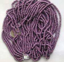 Vintage Purple Orchid Glossy Czech Glass Beads Long Hank 11-12bpi NOS New Old St