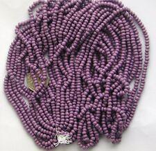 Orchid Slate Mauve Vintage Shiny Czech Glass Beads Long Hank 11-12bpi (7026724)