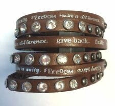 Humanity Inspire with Kindness Cuff Bracelet w Studs Crystals Brown