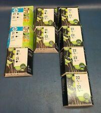 Lot of 8, 2 Pack Hp Ink Cartridge 21 22, 8  Black Ink, 10 Tri Color Ink. EXP