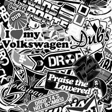 A4 B&W VW T4 TRANSPORTER BOMBING* STICKER DECAL Mr Oilcan Original