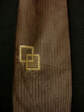 Vintage 1950'S-1960'S Syn Silk Brown Tie With Squares