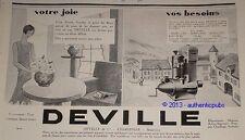 PUBLICITE 1929 DEVILLE VASE EN FONTE CHARLEVILLE ARDENNES FRENCH AD