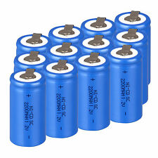 Lot Of 12PCS Rechargeable Battery Sub C SC 1.2V 2200mAh Ni-Cd Batteries With Tap