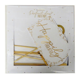 Perfect Day Fun Wedding Gold Photobooth Props, Pack of 10