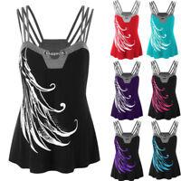Women Plus Size Strappy Bandage Tank Vest Tops Summer Blouse Sleeveless Shirt UK