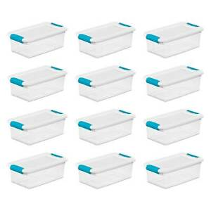 Sterilite 1492 6-Quart Clear Stackable Latching Storage Box Container (12 Pack)