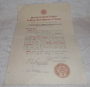 Vintage Masonic certificate, Provincial Grand Chapter, Royal Arch dated 1962