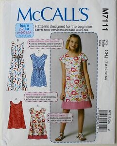 McCalls 7111 Learn To Sew Girls Dresses Sewing Pattern Sz 7-14