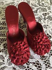 Vintage Daniel Green Garnet Satin Boudoir Slippers Ruffled Rosettes Peep Toe 6