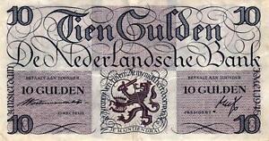 05 Netherlands / Niederlande P74 10 Gulden 1945