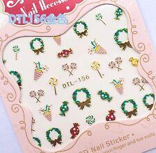 Christmas GOLD Wreath Candy Lollipop Party Popper 3D Nail Art Sticker Decal