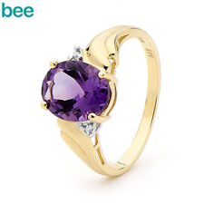 Natural Amethyst Diamond 9ct 9k Solid Yellow Gold Band Ring Size P 7.75 24840/am