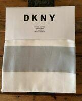 "DKNY SHOWER CURTAIN  ""Bond Stripe""  GRAY / WHITE / METALLIC  COTTON/POLY  NEW!"