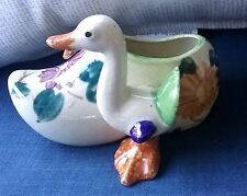 Vintage Hand Painted Ceramic Dutch Shoe and Duck Figural Planter. Made in Japan.