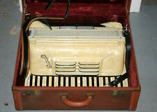 Vintage Crucianelli Pancordian Italy Cream Mother of Pearl Accordion in Suitcase
