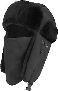 Igloos Black Bomber Trapper Hat - Faux Fur - Ice Fishing Hunting