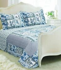 Vintage Country Cottage Style Floral Patchwork Quilted Bedspread 230x240cm and 2 Nevada