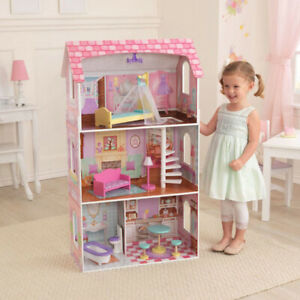 New KidKraft Girls Wooden Pink 3 Levels Dollhouse for Barbie or Bratz Doll House