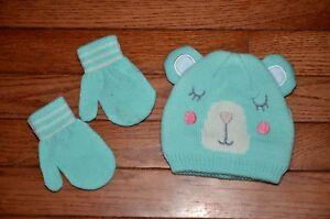 Carter's Girl Blue Bear Face Hat & Mitten Set - Size 0-9 months