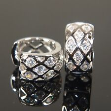 """9ct 9K White """" Gold Filled """" Men Lady made with Swarovski Crystal Earring E501"""