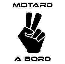 stickers autocollant voiture auto tuning humour MOTARD A BORD salut noir MOTO