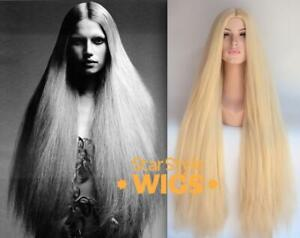 DELUXE 1960s 1970s EXTRA LONG BLONDE HIPPIE WIG WOMENS MENS COSTUME