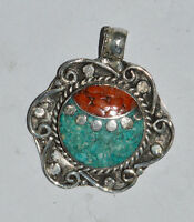 Asian Ethnic Sterling Silver Pendant Turquoise jewelry  Handmade Jewelry  OCT54